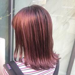 ピンクパープル フェミニン ミディアム ベリーピンク ヘアスタイルや髪型の写真・画像