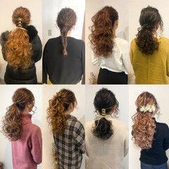 結婚式 ヘアセット ポニーテール ローポニーテール ヘアスタイルや髪型の写真・画像