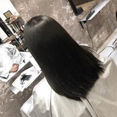 髪質改善 切りっぱなし 縮毛矯正 ミディアム ヘアスタイルや髪型の写真・画像