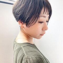 ミルクティーベージュ ショート ナチュラル ミント ヘアスタイルや髪型の写真・画像