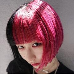 モード 外国人風 ツートン ピンク ヘアスタイルや髪型の写真・画像
