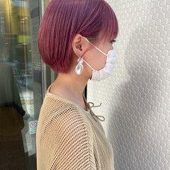 ショート ピンクバイオレット ブリーチ ショートヘア ヘアスタイルや髪型の写真・画像