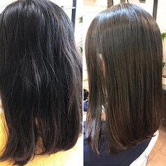 ナチュラル ロブ 縮毛矯正ストカール ロング ヘアスタイルや髪型の写真・画像
