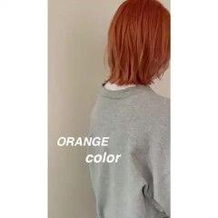 切りっぱなしボブ ウルフカット ミニボブ オレンジカラー ヘアスタイルや髪型の写真・画像