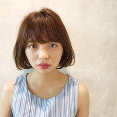 女子会 男ウケ ナチュラル ボブ ヘアスタイルや髪型の写真・画像