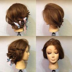 結婚式 フェミニン 裏編み込み ヘアアレンジ ヘアスタイルや髪型の写真・画像