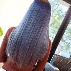 ストレート ロング ブルーラベンダー ブルーバイオレット ヘアスタイルや髪型の写真・画像