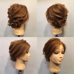 結婚式 くるりんぱ セミロング ヘアアレンジ ヘアスタイルや髪型の写真・画像