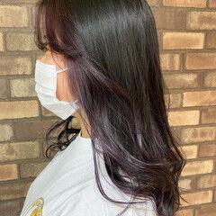 透明感 ロング バイオレット ナチュラル ヘアスタイルや髪型の写真・画像