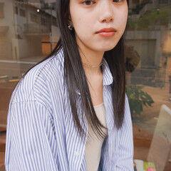 前髪 切りっぱなし 前髪パッツン ナチュラル ヘアスタイルや髪型の写真・画像