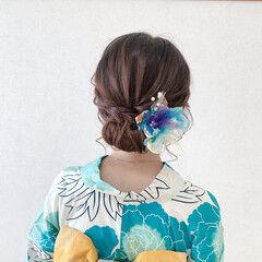エレガント 振袖ヘア ミディアム 結婚式ヘアアレンジ ヘアスタイルや髪型の写真・画像