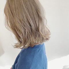 ホワイトベージュ ナチュラル イエローベージュ ボブ ヘアスタイルや髪型の写真・画像
