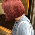 ミニボブ ナチュラル 透明感カラー ピンク