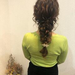 フェミニン セミロング 結婚式 ヘアセット ヘアスタイルや髪型の写真・画像