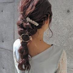 ロング ナチュラル 結婚式ヘアアレンジ 簡単ヘアアレンジ ヘアスタイルや髪型の写真・画像