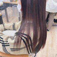 ナチュラル ロング カシスカラー 暖色 ヘアスタイルや髪型の写真・画像