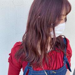 ピンク ロング ラベンダーピンク ピンクブラウン ヘアスタイルや髪型の写真・画像