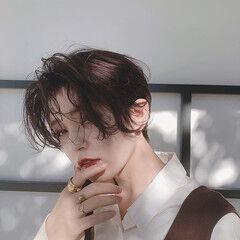 ニュアンスヘア ショート ハンサムショート モード ヘアスタイルや髪型の写真・画像