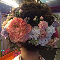袴 ヘアアレンジ ボブ 花 ヘアスタイルや髪型の写真・画像
