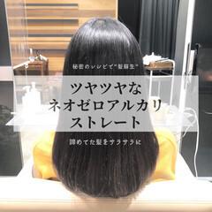 グレージュ ナチュラル 縮毛矯正 ストレート ヘアスタイルや髪型の写真・画像
