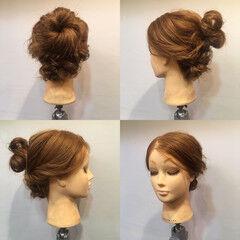 三つ編み 結婚式 セミロング お団子 ヘアスタイルや髪型の写真・画像
