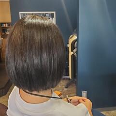 ボブ ダークアッシュ ミニボブ インナーカラー ヘアスタイルや髪型の写真・画像