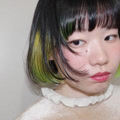 インナーグリーン ネオンカラー モード ミニボブ ヘアスタイルや髪型の写真・画像