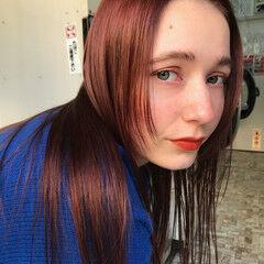 ガーリー オレンジカラー オレンジ ロング ヘアスタイルや髪型の写真・画像