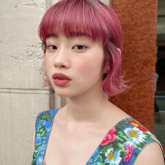 ボブ オン眉 ピンクカラー 可愛い ヘアスタイルや髪型の写真・画像