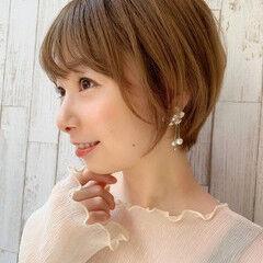 フェミニン 丸顔 シースルーバング 大人かわいい ヘアスタイルや髪型の写真・画像