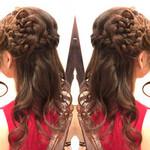 フェミニン 結婚式 セミロング まとめ髪