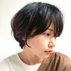 黒髪ショート 大人かわいい ショートボブ ショートヘア ヘアスタイルや髪型の写真・画像