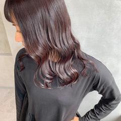 ピンクブラウン 秋冬スタイル ロング ショコラブラウン ヘアスタイルや髪型の写真・画像