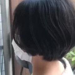 ショートボブ ツヤ髪 ツヤツヤ ナチュラル ヘアスタイルや髪型の写真・画像