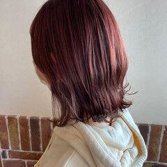 ハイライト ラベンダーピンク ピンク 外ハネボブ ヘアスタイルや髪型の写真・画像
