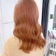 オレンジカラー オレンジブラウン ピンクアッシュ ピンクパープル ヘアスタイルや髪型の写真・画像