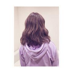 パステルカラー ストリート イルミナカラー ミディアム ヘアスタイルや髪型の写真・画像