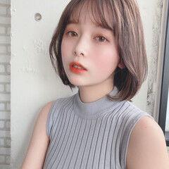フェミニン 韓国風ヘアー モテ髪 ボブ ヘアスタイルや髪型の写真・画像