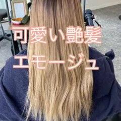 ロング うる艶カラー ブリーチカラー ナチュラル ヘアスタイルや髪型の写真・画像
