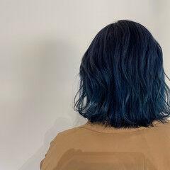ブルーブラック モード ネイビーブルー ブルー ヘアスタイルや髪型の写真・画像