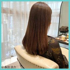 ナチュラル イルミナカラー 縮毛矯正 ロング ヘアスタイルや髪型の写真・画像