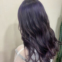 ピンクバイオレット エレガント ロング ブルーバイオレット ヘアスタイルや髪型の写真・画像