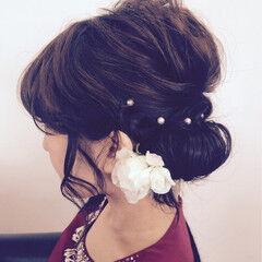ヘアピン パールアクセ ヘアアレンジ 結婚式 ヘアスタイルや髪型の写真・画像