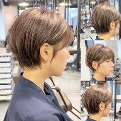 ナチュラル ショートボブ ショートヘア ハンサムバング ヘアスタイルや髪型の写真・画像