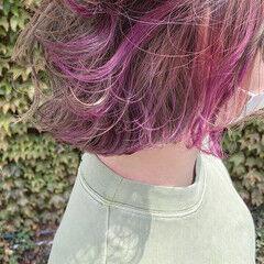 ナチュラル ピンクベージュ ボブ インナーカラー ヘアスタイルや髪型の写真・画像