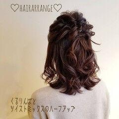 結婚式アレンジ フェミニン 結婚式ヘアアレンジ セミロング ヘアスタイルや髪型の写真・画像