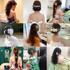 和装髪型 ヘアセット フェミニン ロング ヘアスタイルや髪型の写真・画像