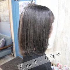 外国人風カラー ガーリー ミディアム デザインカラー ヘアスタイルや髪型の写真・画像