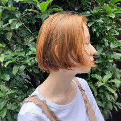 ミニボブ 切りっぱなしボブ ボブ オレンジベージュ ヘアスタイルや髪型の写真・画像