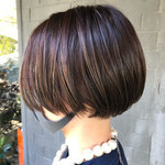 ハイライト ショートボブ 髪質改善トリートメント 髪質改善